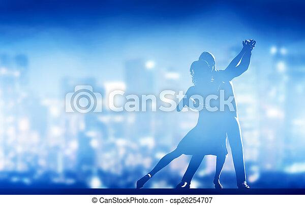 miasto, romantyk, pose., klasyk, para, dance., elegancki, życie nocne - csp26254707