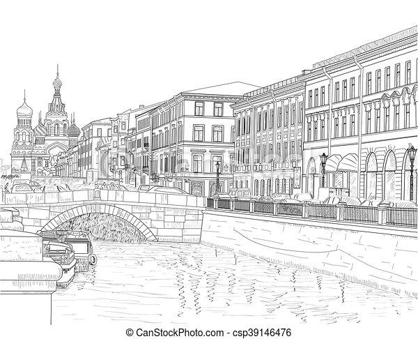 miasto rys ulica ulice griboyedov petersburg wi ty rysunek kana. Black Bedroom Furniture Sets. Home Design Ideas