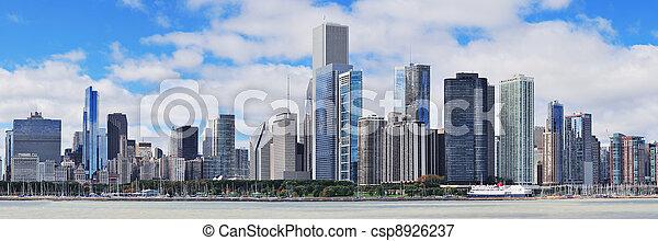 miasto skyline, chicago, miejski, panorama - csp8926237