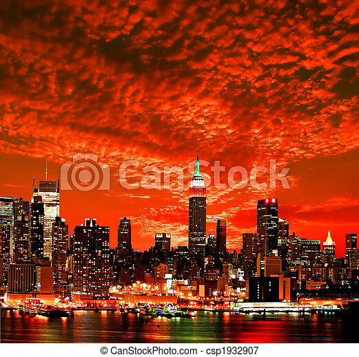 miasto skyline, york, nowy, midtown - csp1932907