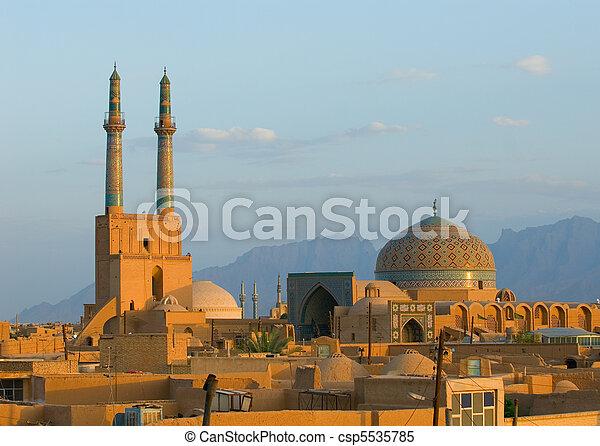 miasto, starożytny, iran, na, yazd, zachód słońca - csp5535785