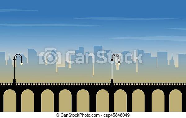 miasto, sylwetka, krajobraz, tło, most - csp45848049