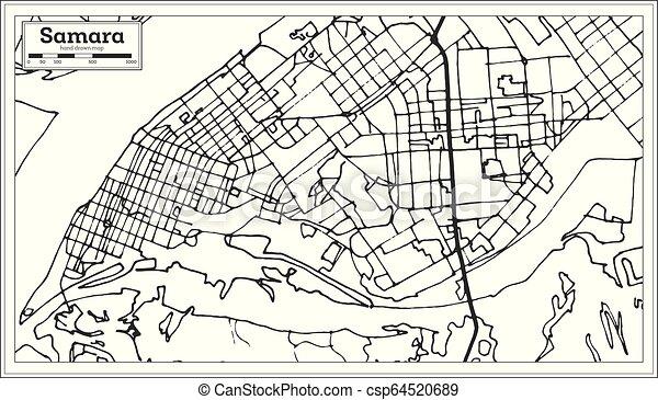 Miasto Szkic Rosja Mapa Map Samara Retro Style Miasto