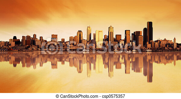 miasto, wschód słońca, prospekt - csp0575357