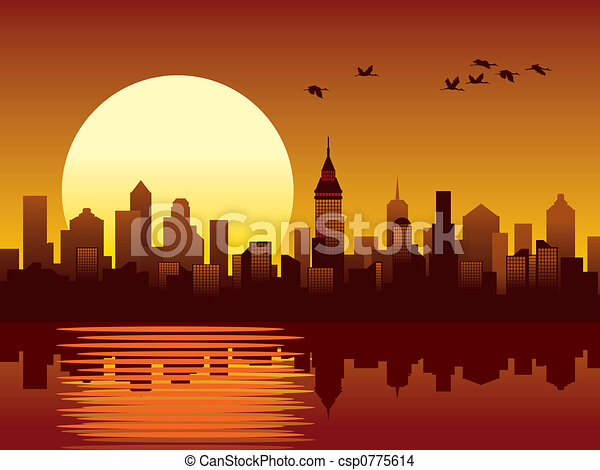 miasto, zachód słońca - csp0775614