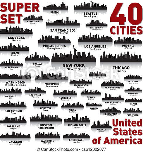 miasto, zjednoczony, niewiarygodny, set., sylwetka na tle nieba, stany, america. - csp12022077
