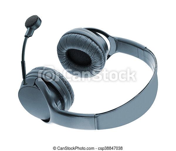 Auriculares con micrófonos aislados en blanco - csp38847038