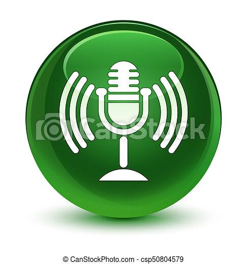 Mic icon glassy soft green round button - csp50804579