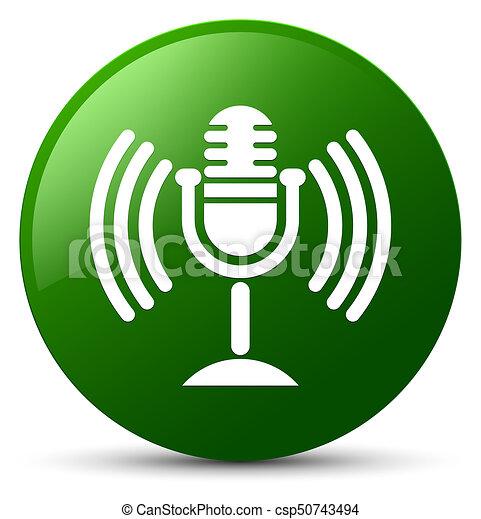 Mic icon green round button - csp50743494