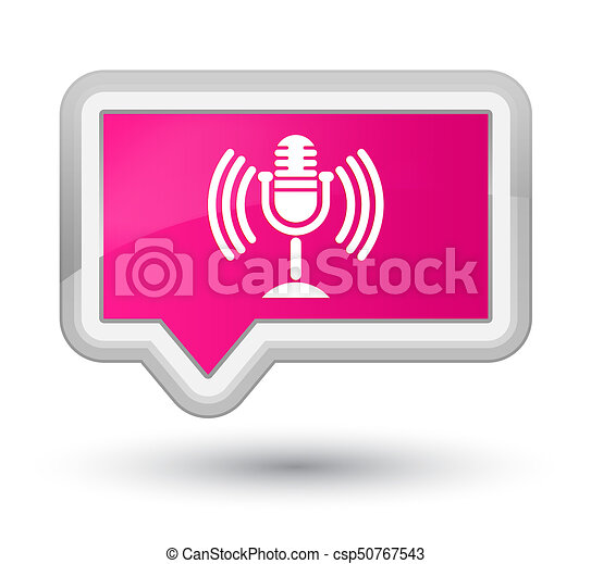 Mic icon prime pink banner button - csp50767543