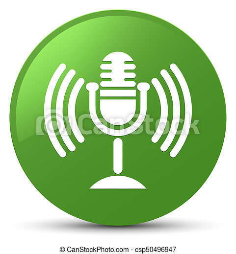Mic icon soft green round button - csp50496947