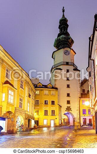 Michal Tower (Michalska Brana), Bratislava, Slovakia. Historic City Gate. - csp15698463