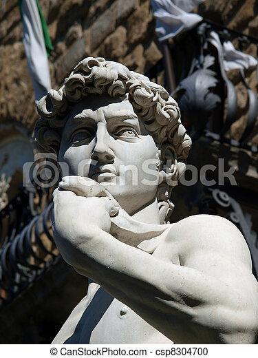 Florence, la estatua de David de Michelangelo en piazza signori - csp8304700