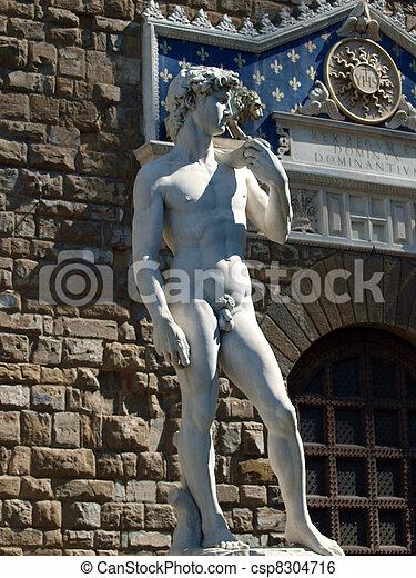 Florence, la estatua de David de Michelangelo en piazza signori - csp8304716