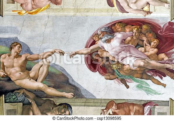 Los frescos de Miguel Ángel en la capilla Sixtina - csp13098595