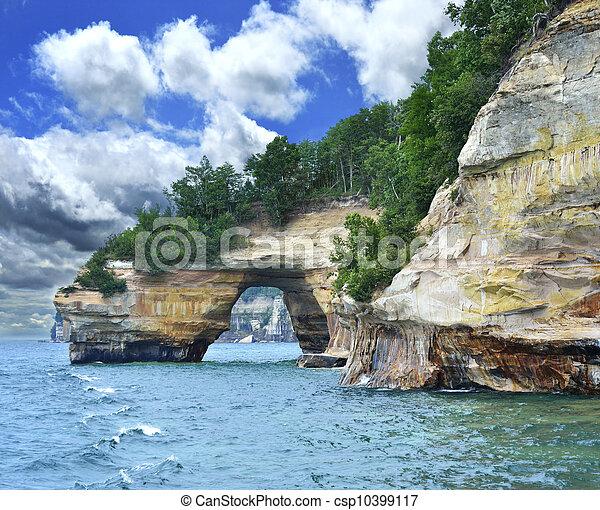 michigan, állam, tó part, kő, nemzeti, tévékép - csp10399117