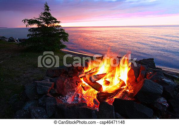 Michigan Beach Bonfire - csp46471148