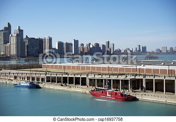 michigan, chicago, jetée, lac - csp16937758