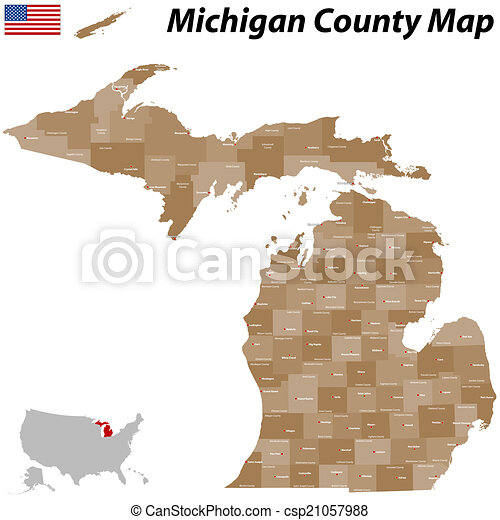 Detailed Michigan Map.Michigan County Map A Large And Detailed Map Of The State Of