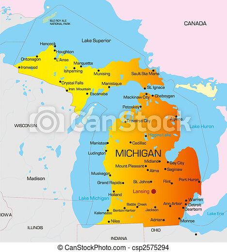 Mapa De Color Michigan State Estados Unidos De América Dibujo - Mapa de michigan