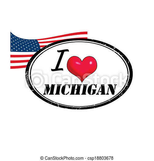 michigan, francobollo - csp18803678