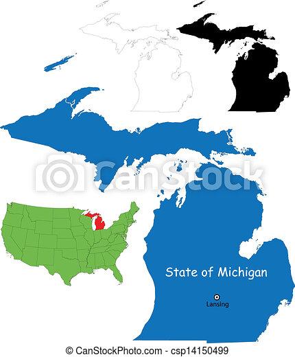 Michigan map - csp14150499
