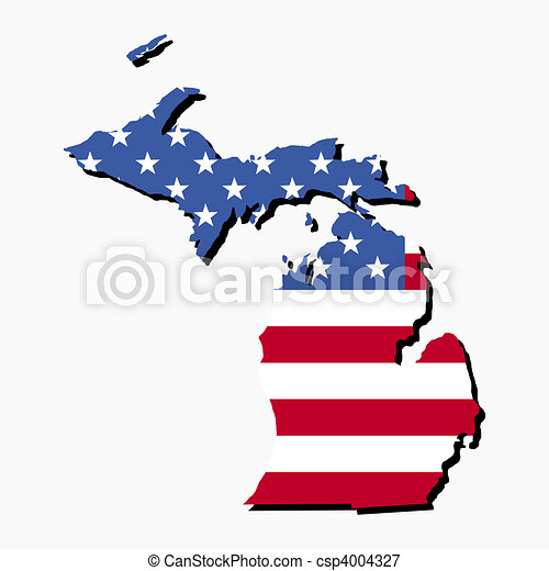 Stock Illustrations Of Michigan Map Flag Map Of The State Of - Map of the state of michigan