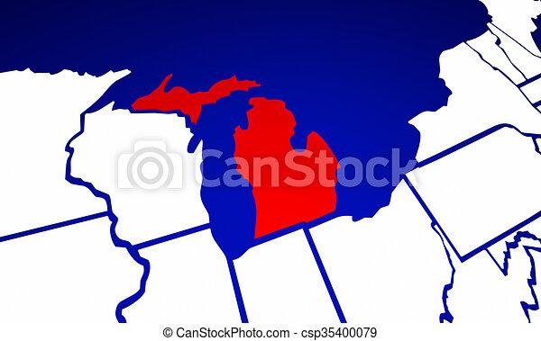 michigan mi state united states of america 3d animated state rh canstockphoto com