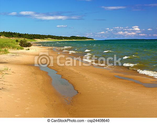 El paisaje de la playa de Michigan - csp24408640