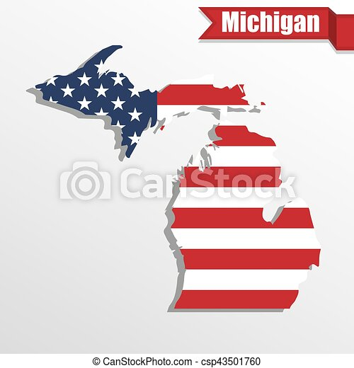 Michigan State map with US flag inside and ribbon - csp43501760