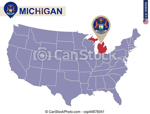 Michigan state on usa map michigan flag and map us states eps