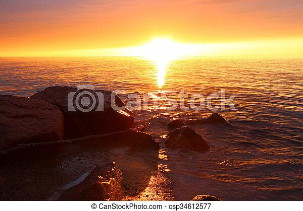 Michigan Vacation Beach Sunset - csp34612577
