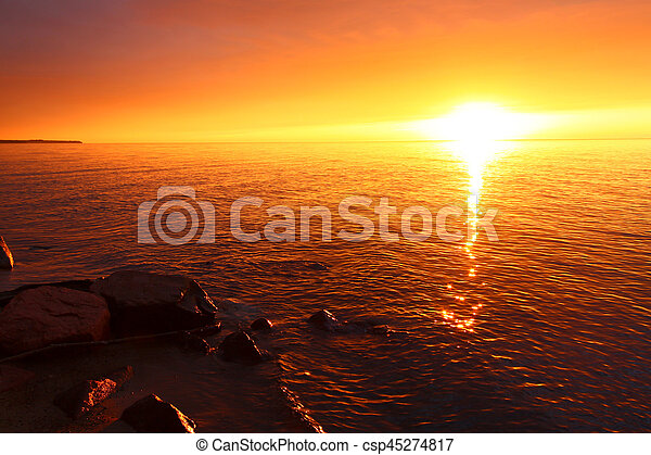 Michigan Vacation Beach Sunset - csp45274817