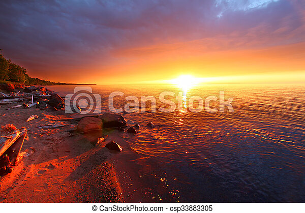 Michigan Vacation Beach Sunset - csp33883305