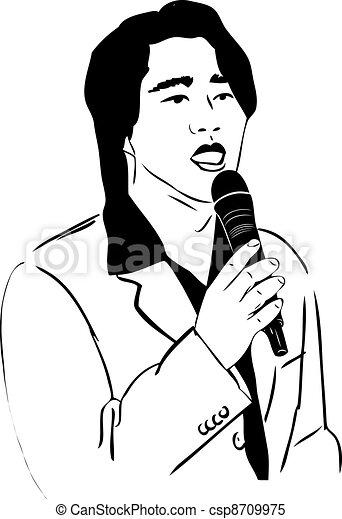 El hombre asiático de cantar en un micrófono - csp8709975