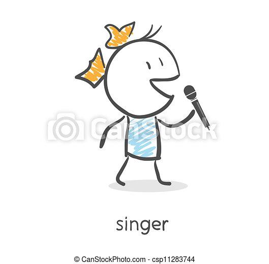 micrófono, canto, niña, caricatura