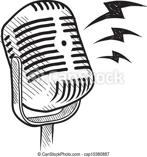 Dibujo de micrófono retro - csp10380887