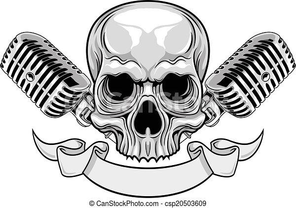 Micrófonos Cráneo Micrófonos Gris Cráneo Ilustración