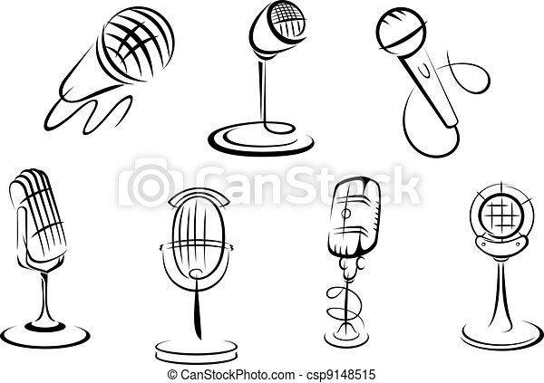 Micrófonos Dibujos Retro Micrófonos Dibujos Conjunto