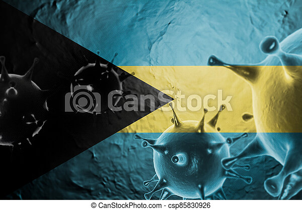 Micro View Of Virus Floating, With Bahamas Flag Background 3D Render - csp85830926