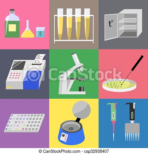Microbiology laboratory icons set: labware, thermostat ...