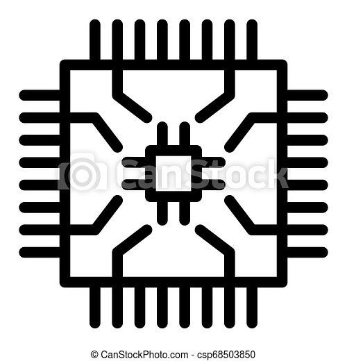 microchip line icon cpu vector illustration isolated on white processor outline style design designed for web and app eps can stock photo