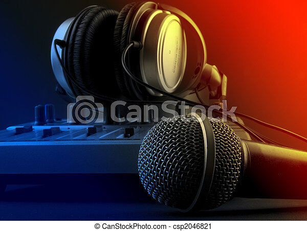 microfone, fones, misturador - csp2046821