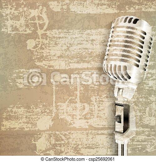 microfone, grunge, abstratos, fundo, retro - csp25692061