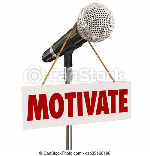 microfono, ispirare, folla, motivare, segno, pubblico, discorso, altoparlante - csp33168196