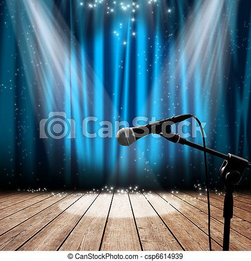 microfono, palcoscenico - csp6614939
