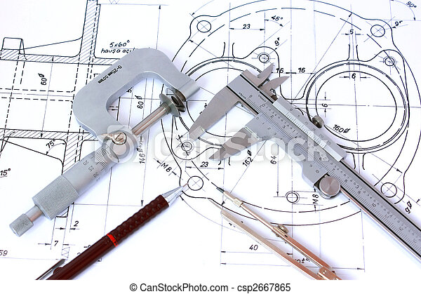 Micrometer, Caliper, Mechanical Pencil and Compass on Blueprint - csp2667865
