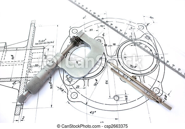 Micrometer compass and ruler on blueprint. - csp2663375