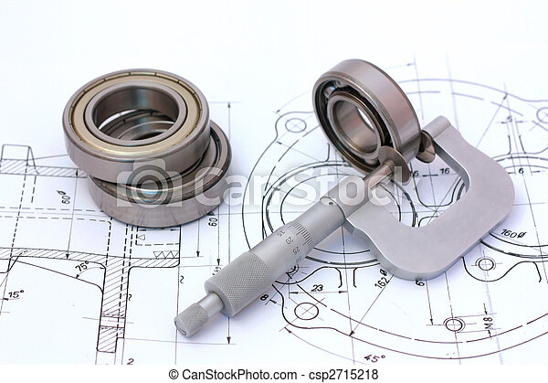 Micrometer measuring ball bearing on technical drawing - csp2715218