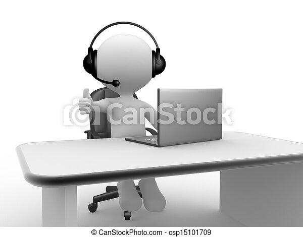 microphone, écouteurs, laptop. - csp15101709